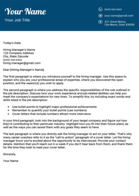 Sea Blue Fancy Cover Letter Template
