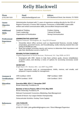 Imperial Gold Hybrid Resume Template