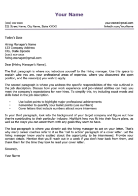Amethyst Purple Minimalist Cover Letter Template