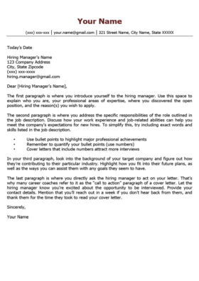 Ruby Red Quick Cover Letter Template