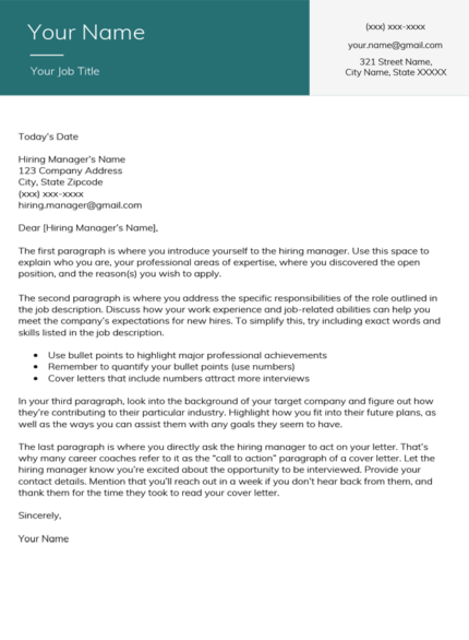 Viridian Stanford Cover Letter Template
