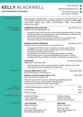 Aquamarine Technical Resume Template